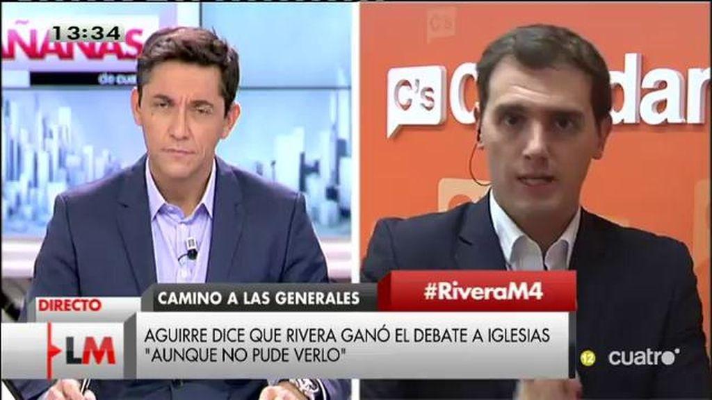 """A. Rivera: """"Discreparé con Podemos en cosas, pero estamos de acuerdo en debatir"""""""