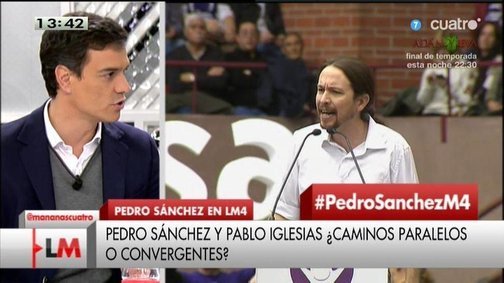 """Pedro Sánchez: """"Veo palabras muy duras, pero ideas muy blandas en Podemos"""""""