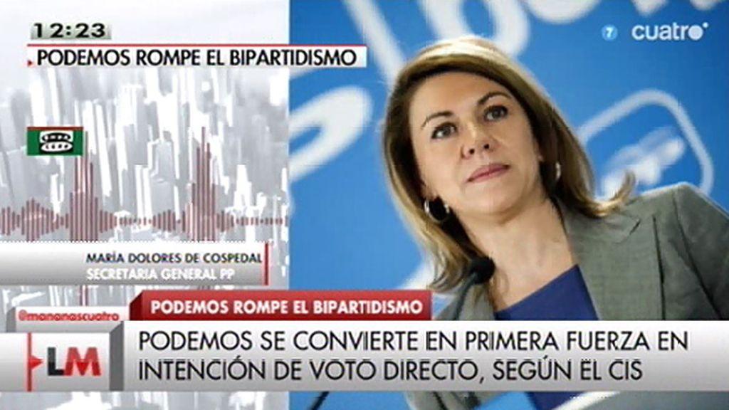 """Cospedal, sobre Podemos: """"Además de estar a la contra, no sabemos a favor de qué están"""""""