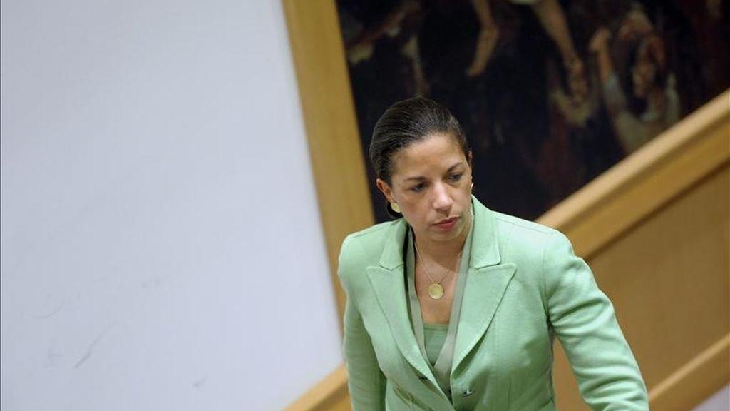 En la imagen, la embajadora estadounidense ante las Naciones Unidas, Susan Rice. EFE/Archivo