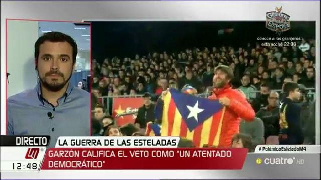 """Alberto Garzón, sobre la prohibición de las esteladas: """"Es una forma de echar gasolina a un incendio"""""""