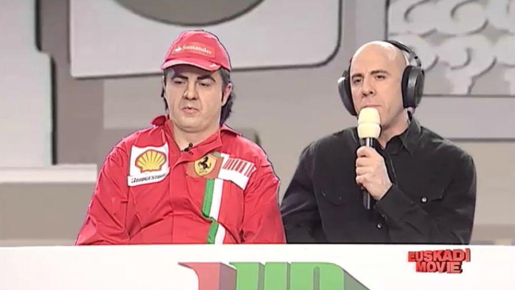 Fernando Alonso y Antonio Lobato, concursantes de 'Un, dos, tres'