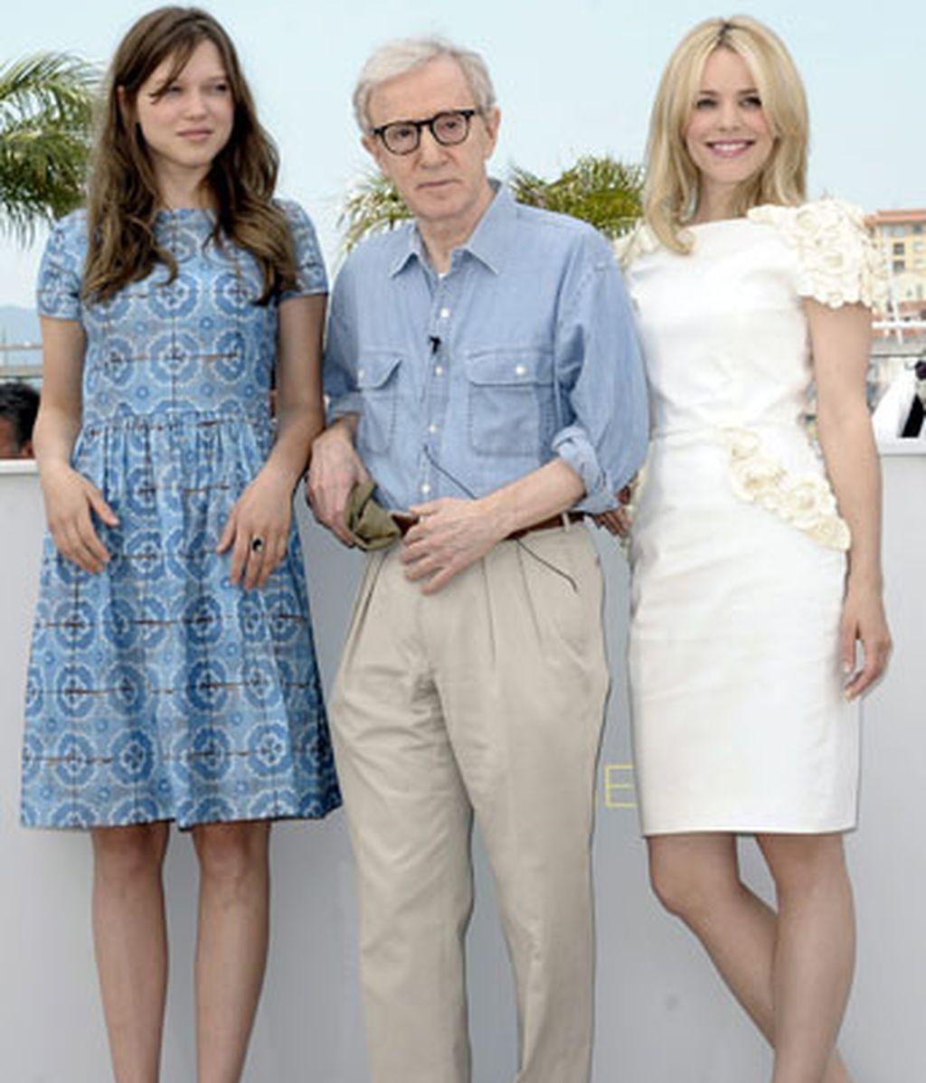 Woody Allen junto a Lea Seydoux y Rachel McAdams