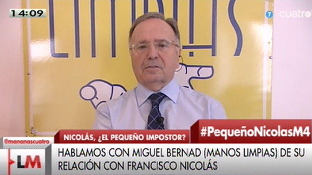 """Miguel Bernard, sobre Francisco Nicolás: """"Venía avalado, llegó con coche oficial y escolta, tenía que darle credibilidad"""""""