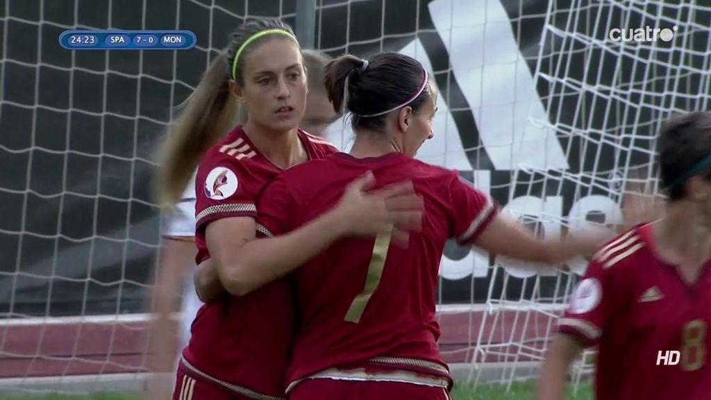 ¡España hace el séptimo! Pase de Putellas que no duda en rematar Corredera (7-0)