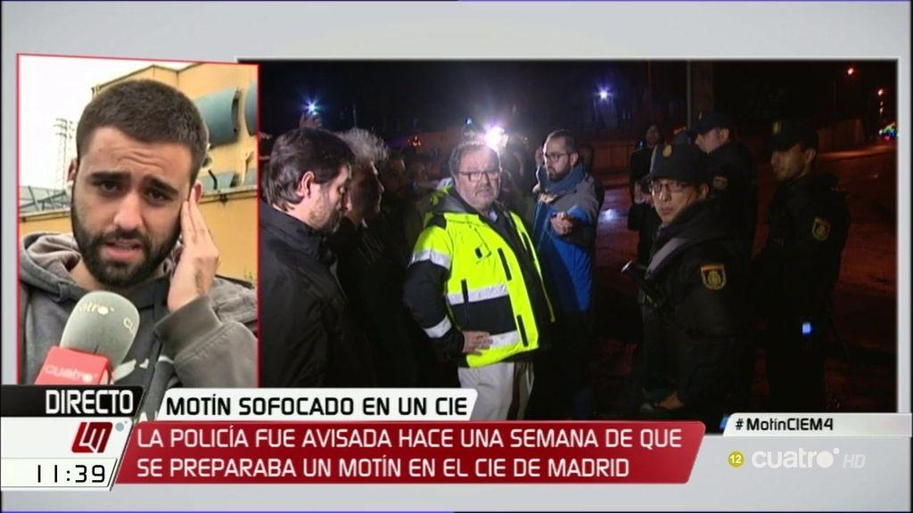 """José Ariza, tras el motín del CIE: """"Espero que esto sirva para sacar a la luz lo horrible que es este sitio"""""""