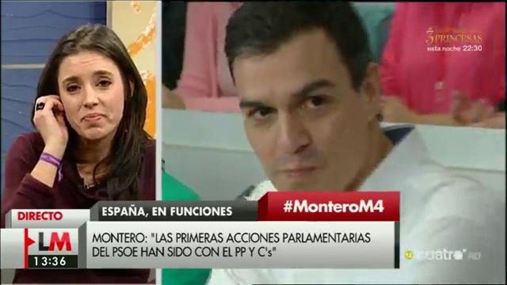 """Irene Montero: """"Sería una desgracia para España y el PSOE que gane la batalla la vieja guardia socialista"""""""