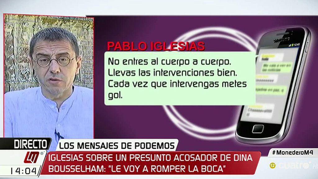 """Monedero, de los mensajes de Podemos: """"Es una estrategia del periodismo pantuflo"""""""
