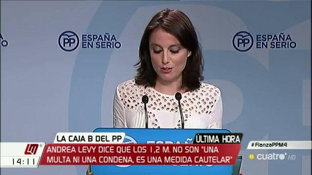 """Andrea Levy dice que los 1,2 millones de euros """"no son una multa ni una condena"""" sino """"una garantía cautelar"""""""