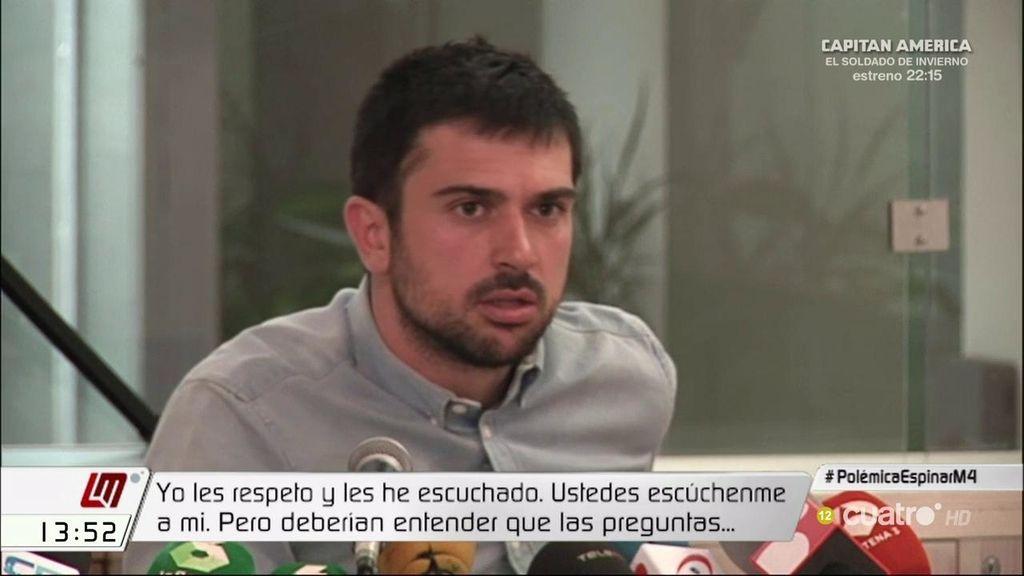 El segundo cara a cara de Ramón Espinar y los periodistas con el 'Caso Espinar'