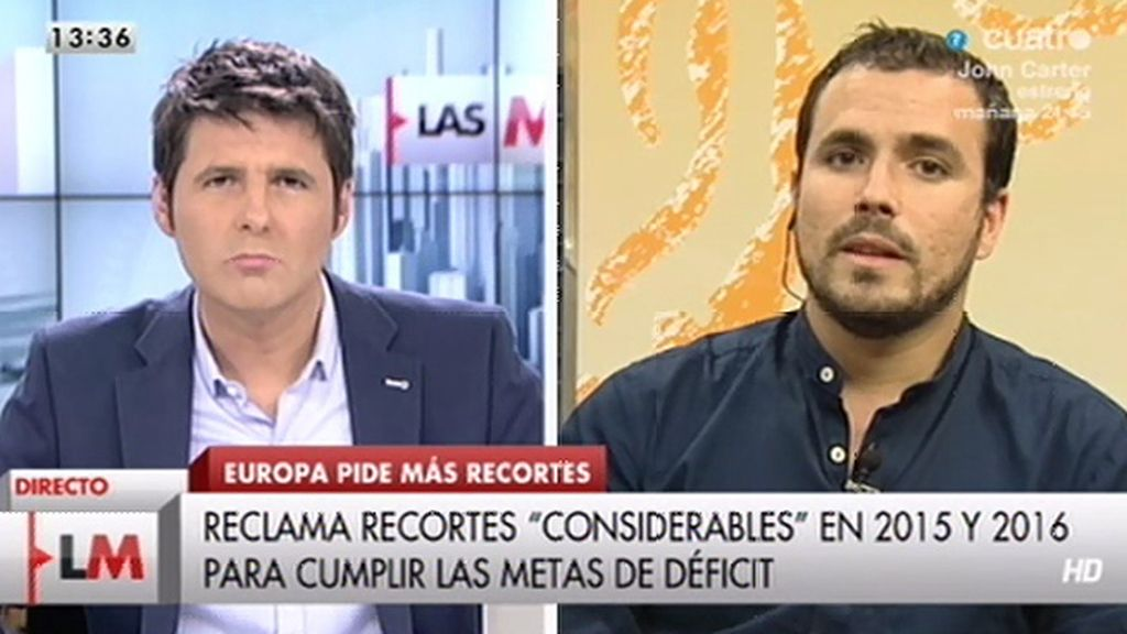"""Alberto Garzón: """"El PP ha obedecido sistemáticamente las directrices de la troika"""""""