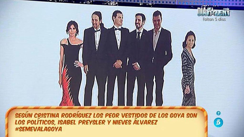 Los peores vestidos de los Goya son los políticos, Isabel Preysler y Nieves Álvarez