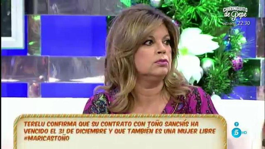 """Terelu Campos: """"Mi contrato con Toño Sanchís cumplió el día 31 de diciembre"""""""
