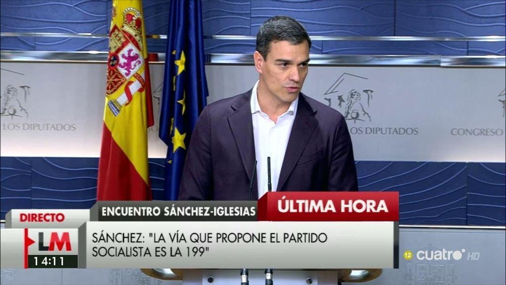 """Sánchez: """"Creo que hoy estamos más cerca de ese gobierno del cambio y más lejos de la repetición de elecciones"""""""