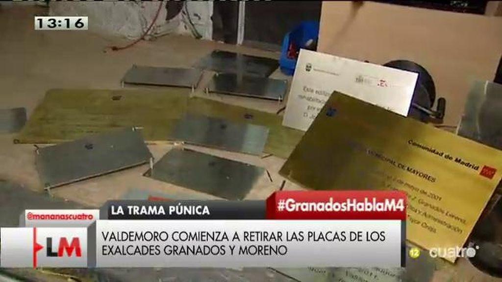 Valdemoro retira las palcas con los nombres de los exalcaldes Granados y Moreno