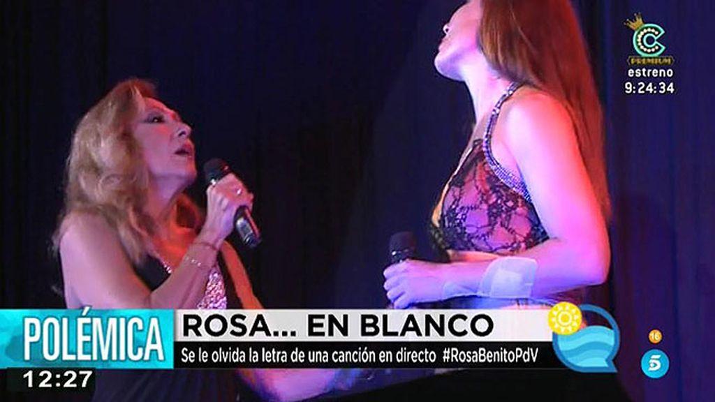 Rosa Benito se queda en blanco y su representante culpa a las cámaras