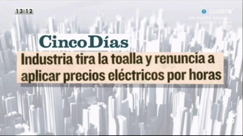 Según 'Cinco Días', Industria renuncia a aplicar precios eléctricos por horas