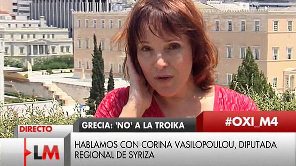 """Corina Vasilopoulou, diputada regional de Syriza: """"Vamos a ver si el problema era el estilo de Varufakis"""""""