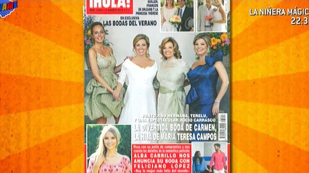 La revista '¡Hola!' nos muestra en portada la boda de Carmen, hija de Mª Teresa Campos
