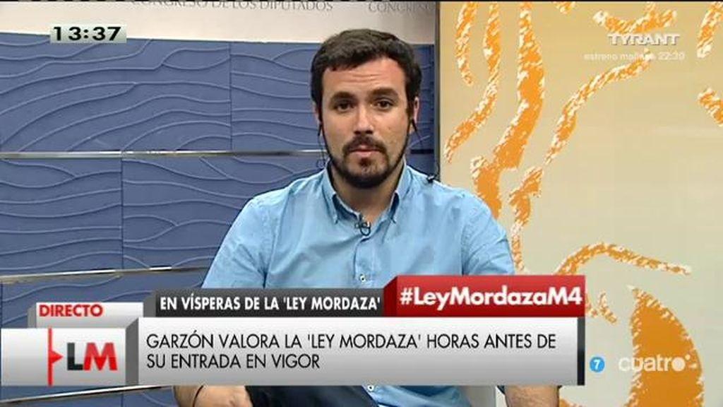 """A. Garzón, sobre la 'ley mordaza': """"El PP piensa que atacando los síntomas se va a solucionar el problema"""""""