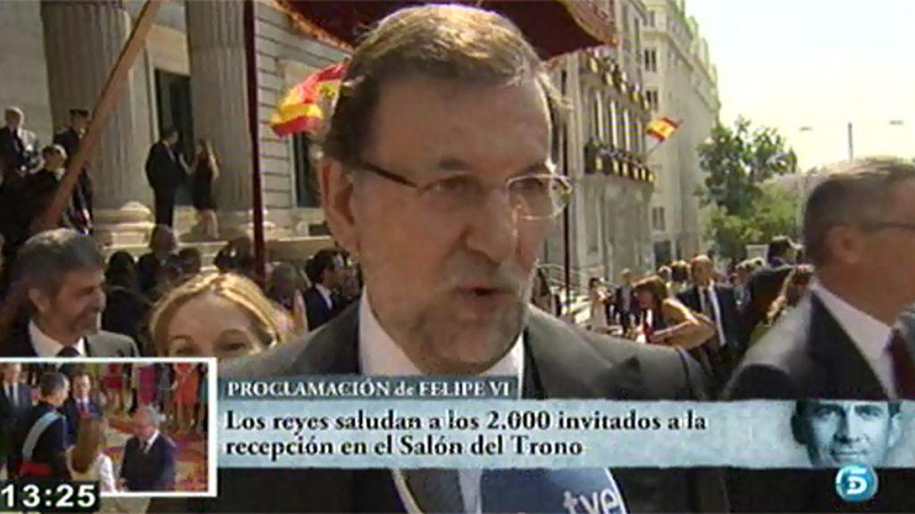 """Mariano Rajoy: """"Ha sido un acto muy bonito, un acontecimiento histórico de verdad"""""""