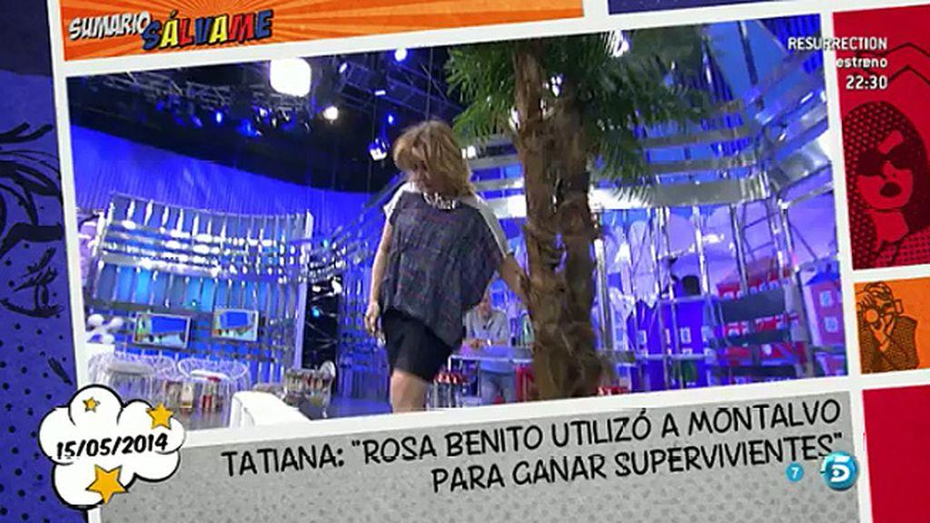 Mila Ximénez imita a Rosa Benito abrazando de nuevo una palmera
