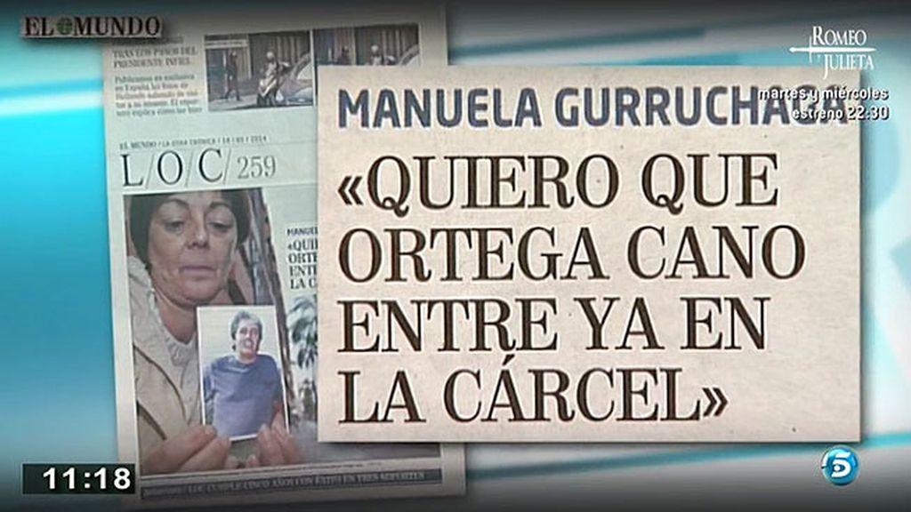 """Manuela Gurruchaga, viuda de Carlos Parra: """"Quiero que Ortega entre ya en la cárcel"""""""