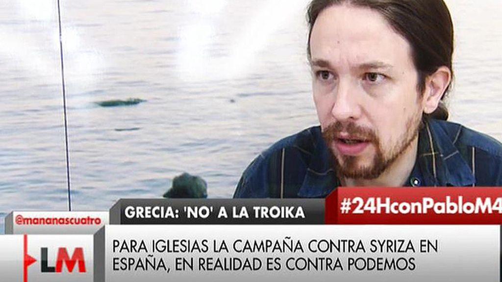 """Pablo Iglesias: """"Creo que sí, castigar a Grecia es una manera de intentar castigar a España"""""""