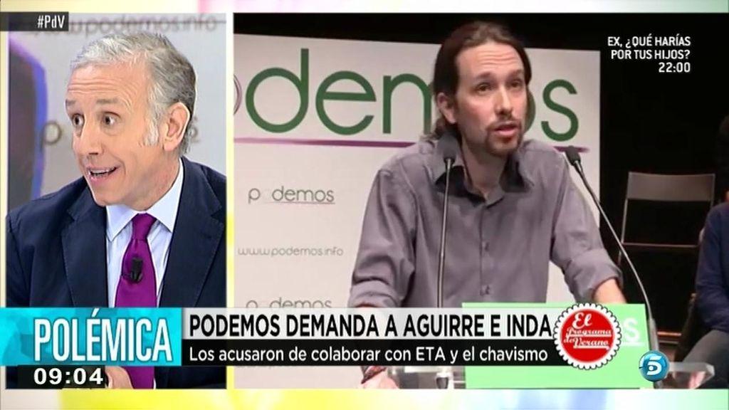 """Inda, sobre la demanda de Pablo Iglesias: """"Tiene las mismas posibilidades de ganarla que España de ganar el Mundial"""""""