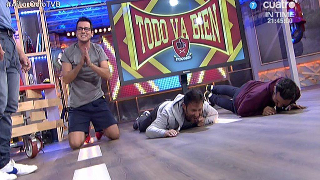 El entrenador de Aitor Ocio pone a Xavi, Iñaki y Carlos Pareja a hacer flexiones