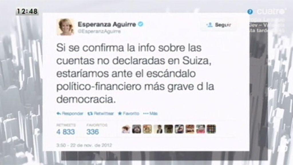 'LMDC' recuperan un tuit de Esperanza Aguirre sobre cuentas en Suiza