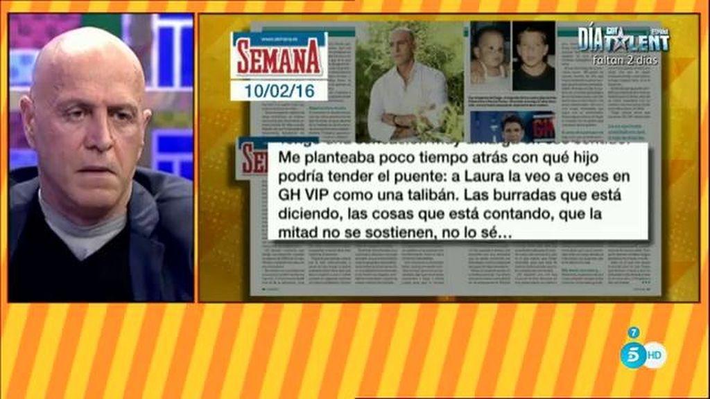 """Kiko M.: """"Me han producido mucha pena las declaraciones de Diego en 'Lecturas"""""""