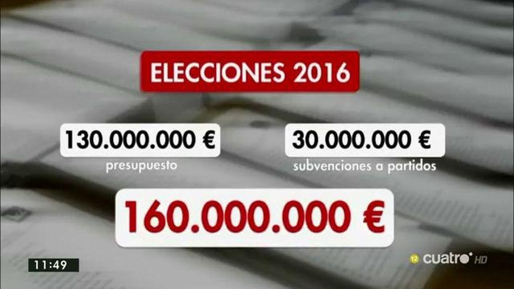 El coste de unas nuevas elecciones: 160 millones de euros