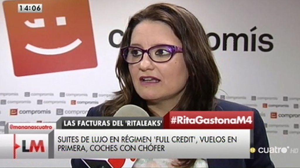"""Mónica Oltra, de Barberá: """"No tienen líneas rojas, pero sí nos han dejado números rojos"""