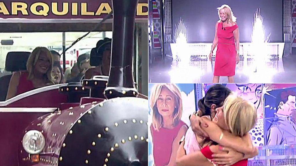 """En tren y con fuegos artificiales, Mila vuele a 'Sálvame': """"Este es un sitio al que pertenezco y en el que me quiero quedar"""""""