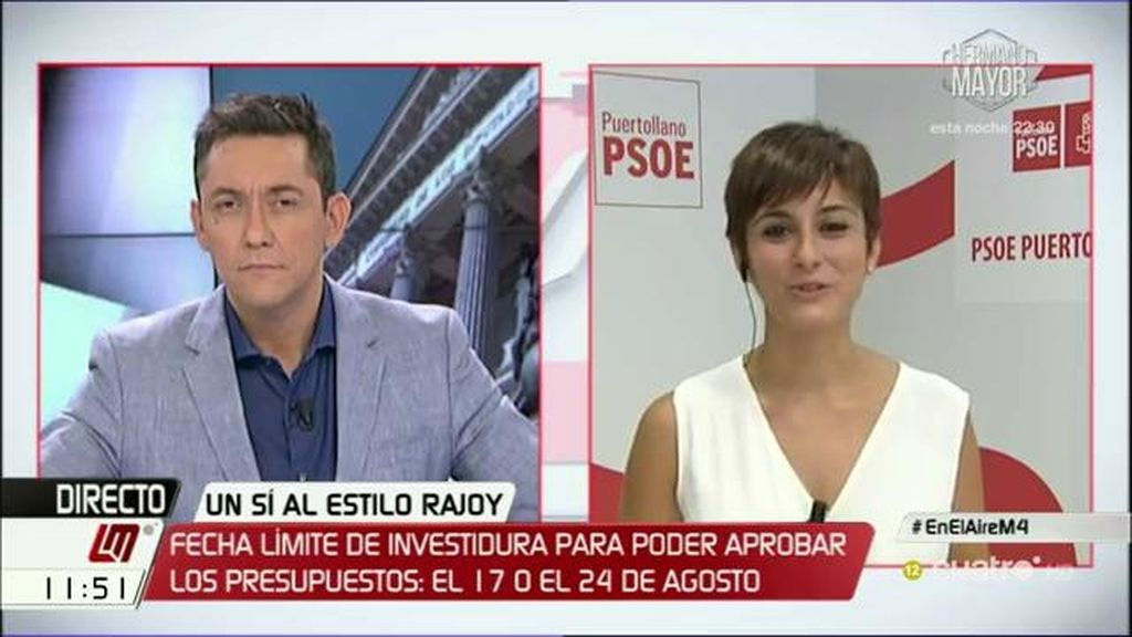 """Isabel Rodríguez: """"En esta ocasión Rajoy supera a Rajoy en su irresponsabilidad"""""""