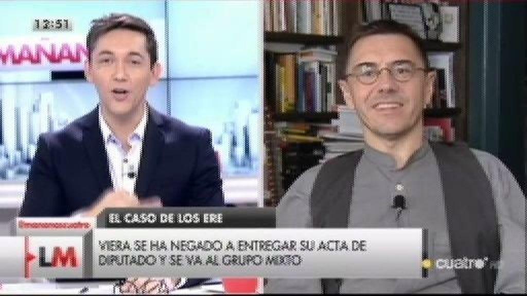 """Monedero critica duramente """"la estructura clientelar"""" del PSOE en Andalucía"""
