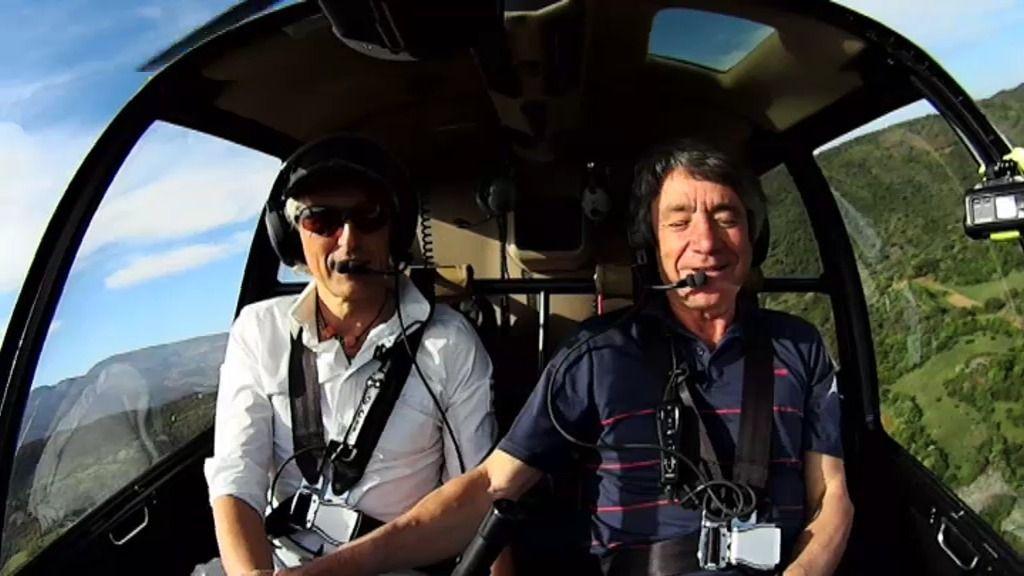 El emotivo viaje en helicóptero de Calleja y Rafael, que pilota a pesar de su ceguera