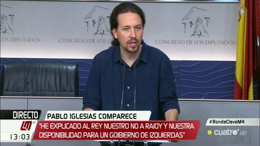 """Iglesias: """"Creo que Rajoy no se va a proponer y llegaremos a un bloqueo sin precedentes"""""""