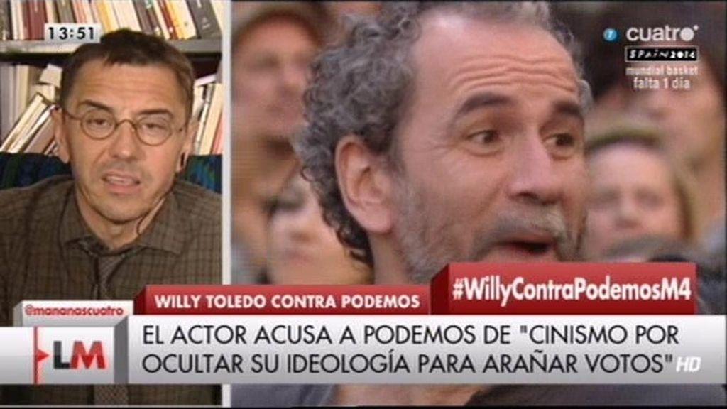 """Monedero responde a las críticas de Willy Toledo: """"Su mapa ideológico está envejecido"""""""