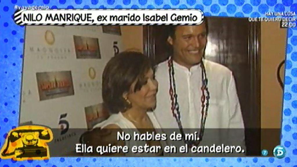 """Nilo Manrique, sobre Isabel Gemio: """"Quiere estar en el candelero"""""""
