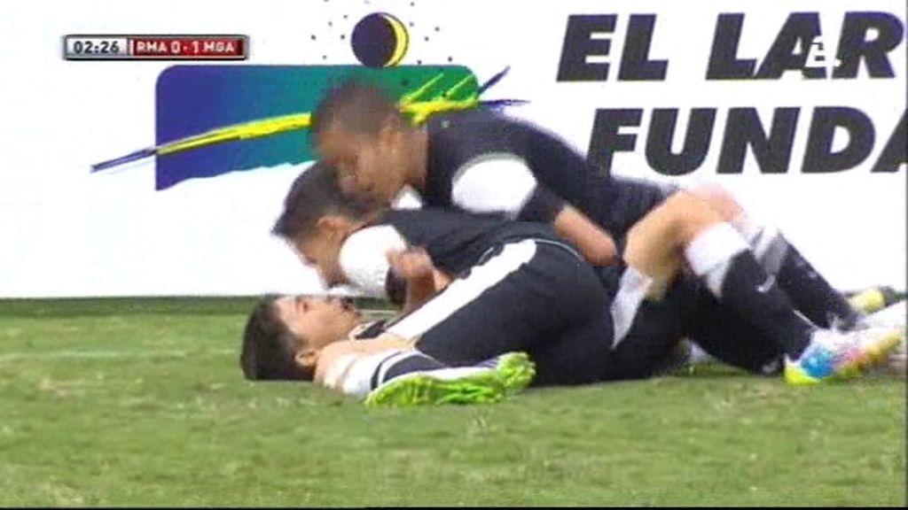 David Larrubia pone el 1-0 para el Málaga
