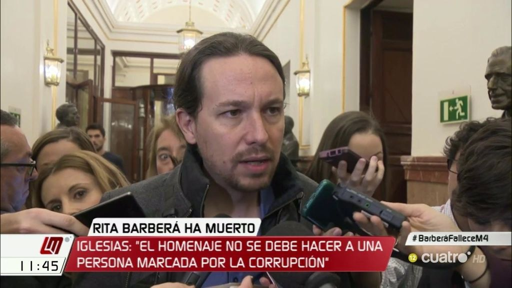 """Pablo Iglesias: """"Un homenaje político no debe hacerse a una persona cuya trayectoria está marcada por la corrupción"""""""