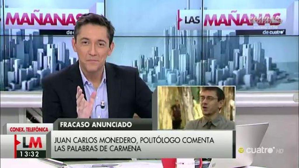 """Monedero, tras la matización de Carmena: """"Hay mucha cera ideológica en los oídos"""""""