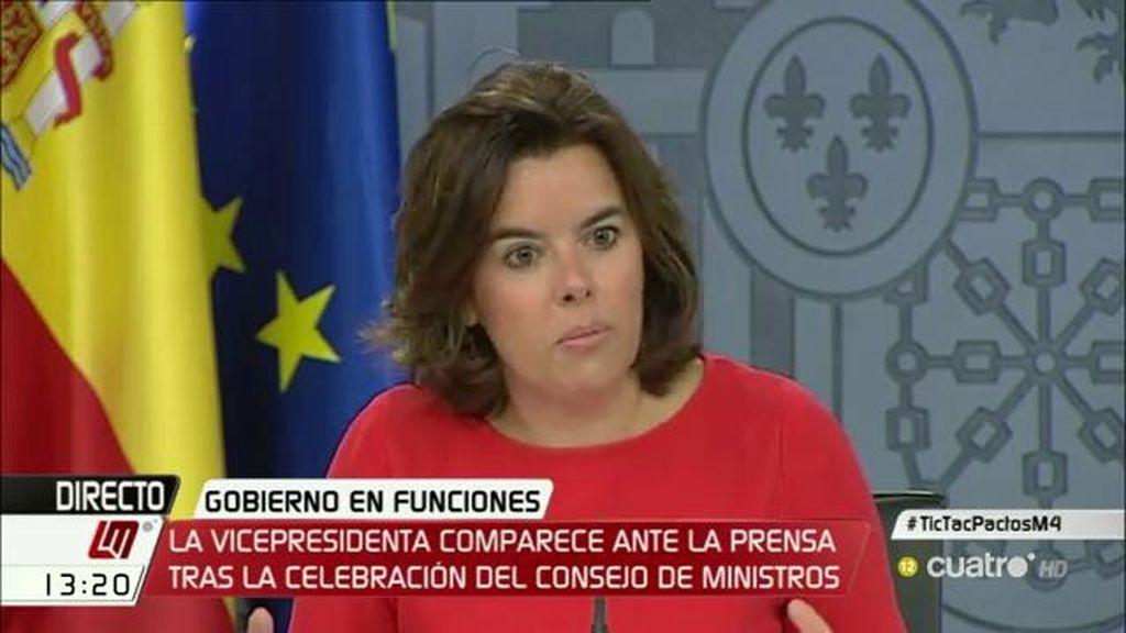 """Sáenz de Santamaría: """"A quien se ha dirigido el presidente para formar Gobierno ha sido a los partidos constitucionalistas"""""""