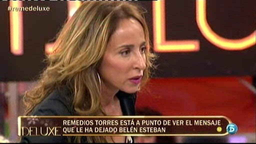 Patiño entra en cólera contra la madre de Mª José Campanario, Remedios Torres