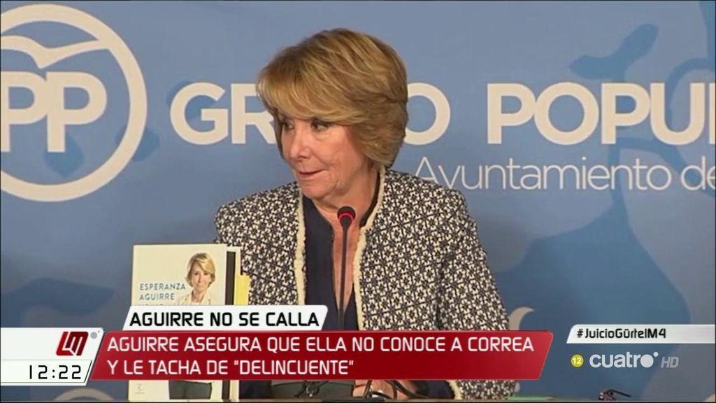 """Esperanza Aguirre asegura que no conoce a Correa y añade: """"No tengo ni idea de a quién quiere empitonar o no"""""""