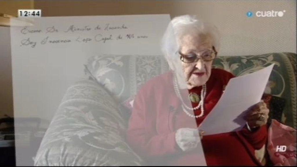 Inocencia, de 104 años, escribe una carta a Hacienda para evitar un desahucio