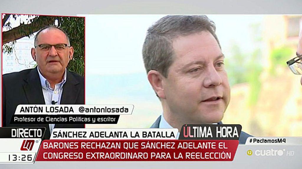 """Antón Losada, a los barones socialistas: """"Por favor, no disparen más a Sánchez"""""""