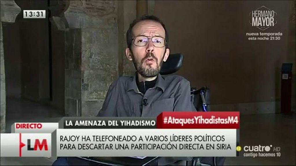 """Pablo Echenique: """"No creemos que menos democracia sea la respuesta al terrorismo"""""""